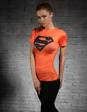Superman Women's T-Shirt (Orange) - Gym Heroics Apparel