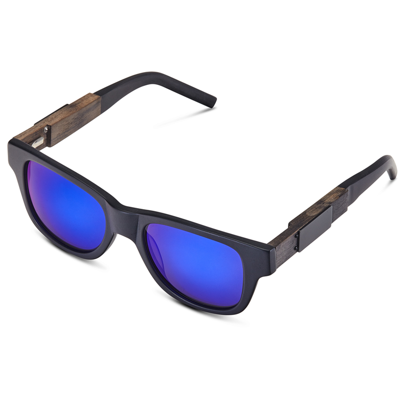 HAZE - Brushed Black Frame - Blue Mirror Lenses