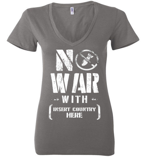 No War With Country Women's V-Neck T-Shirt