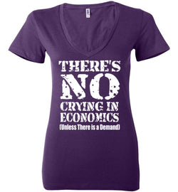 There's No Crying In Economics Women's V-Neck T-Shirt