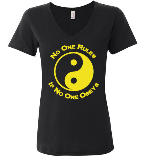 No One Rules If No One Obeys Yellow Women's V-Neck T-Shirt