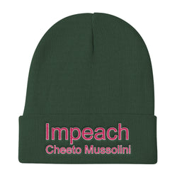 Impeach Cheeto Mussolini Knit Beanie Hat