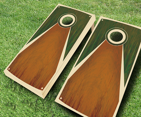 Antique Green Stained Cornhole Set