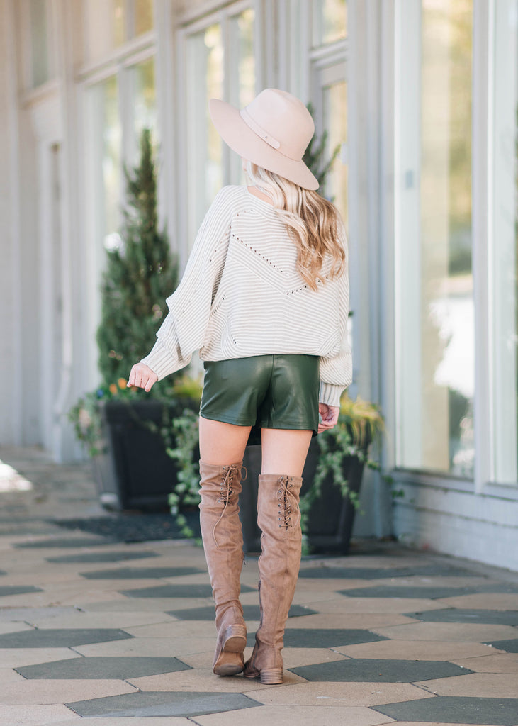 Let's Meet Olive Green  Asymmetrical Leather Skort