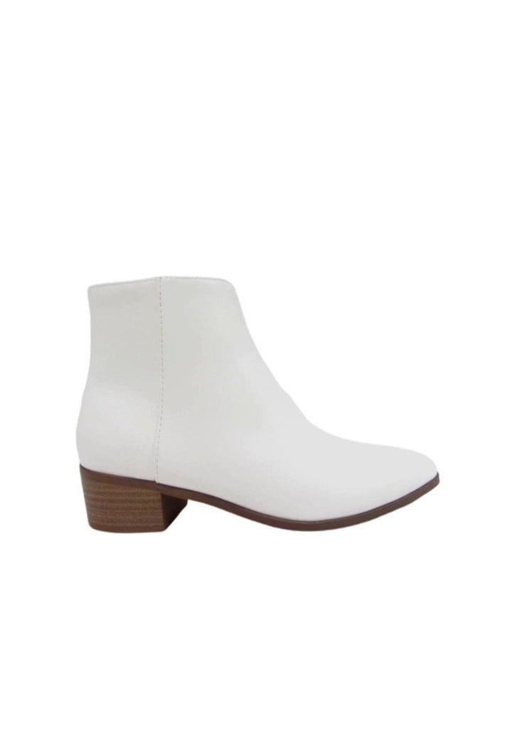 Spirit Natural White Pointed Toe Ankle Booties