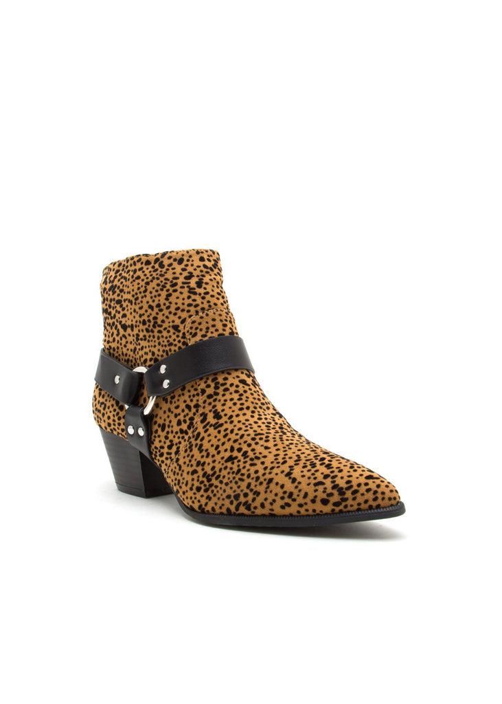 Alba Camel Cheetah Printed Pointed-Toe Ankle Boots