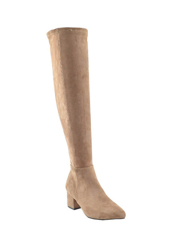 Tahlia Taupe Suede Over the Knee Boots