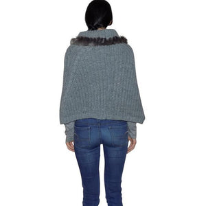 Knit Poncho - Faux Fur Trim