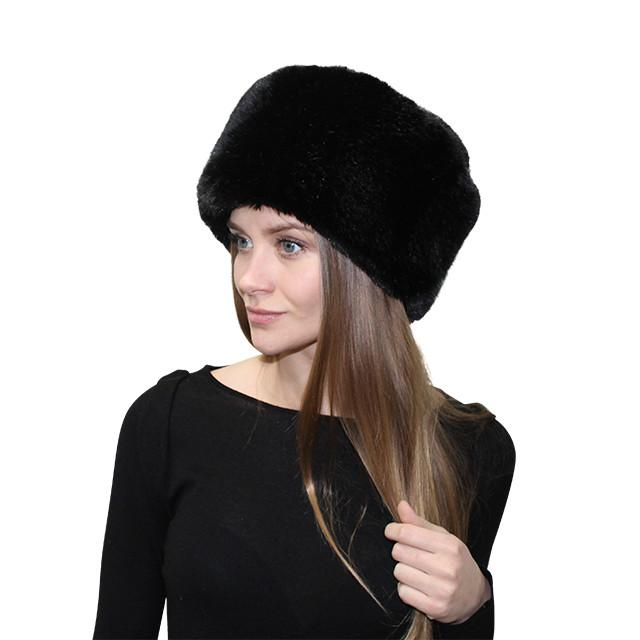 Faux Fox Pill Box Hat