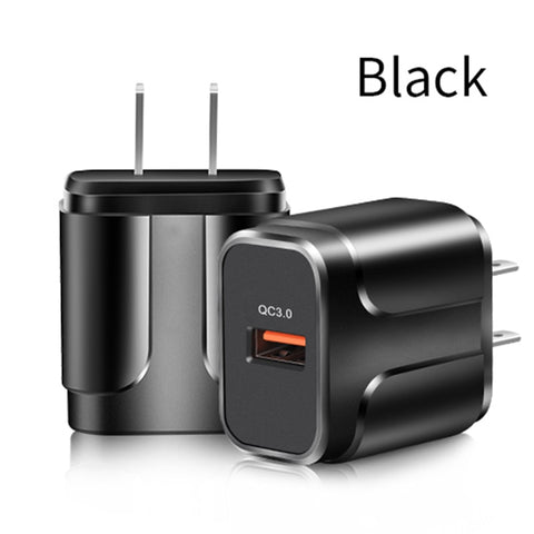 QC3.0 Fast Charger Qualcomm 3.0 Fast Charge Head 5/9/12V Mobile Travel Wall Quick Charger EU/US Plug Adapter +
