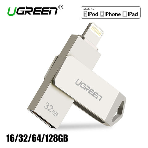 [For MFi USB Flash Drive iOS 10],Ugreen Lightning to USB Flash Drive 32GB 64GB for iPhone 7 7 Plus 6 5 5S Metal Pen Drive U Disk