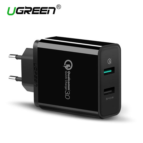 Ugreen Qualcomm Quick Charge 3.0 Dual USB Wall Charger 30W Fast Mobile Phone Charger for Samsung Huawei Xiaomi Quick Charger EU