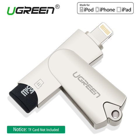 Ugreen All in 1 Lightning to USB 2.0 TF Card Reader for iPhone 6/6s 7Plus iPod iPad Air Mini 3 4 for iOS 9.0 Windows Linux