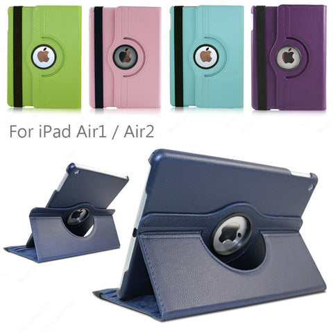 360 Rotation PU Leather case For iPad Air / Air2 / Tablet flip cases Cover For Apple  iPad5 / ipad6 Air 2 Free shipping