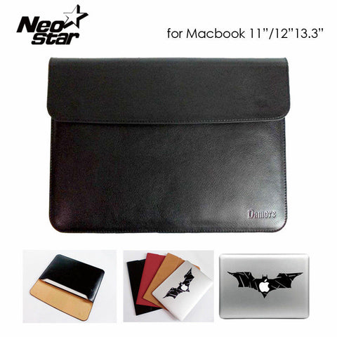 Sleeve Bag Case Notebook Cover for Macbook Air Pro Retina 11 12 13 Ultrabook Laptop PU Leather Tablet PC Anti-scratch + Sticker