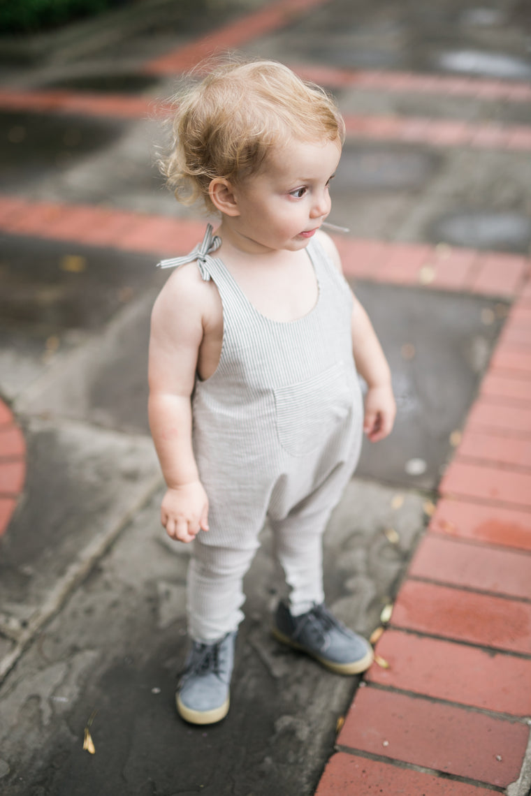 Low Crotch Romper - Grey
