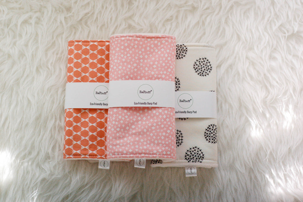 Eco-Friendly Burp Pad Gift Set of 3 - Burp Pads - ReFluff - Little A & Co.