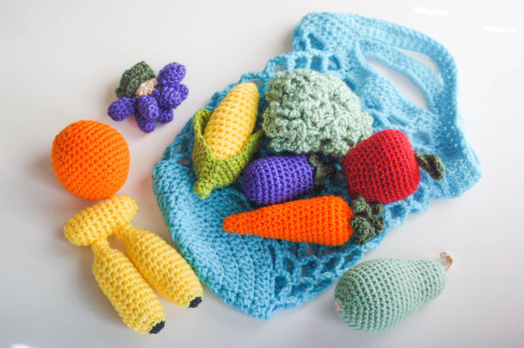 Fruits & Vegetables Crochet Toys With Basket (Set of 9) - Soft Pretend Toys - Lennikins Crafts - Little A & Co.