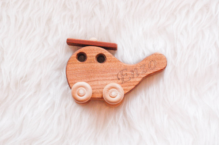 Eco-Wooden Toy Helicopter (with free engraving) - Wooden Toys - Woodchacallit - Little A & Co.