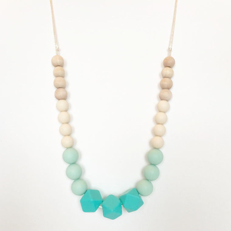 Aqua - Silicone & Wood Teething Necklace - teether - Sweetie Pie Design Co. - Little A & Co.