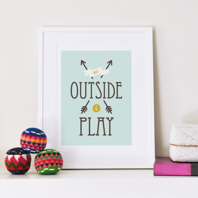 Go Outside and Play art print - Art Prints - Graphic Anthology - Little A & Co.