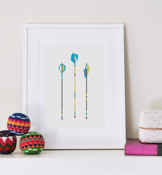 Three Arrows art print - Art Prints - Graphic Anthology - Little A & Co.