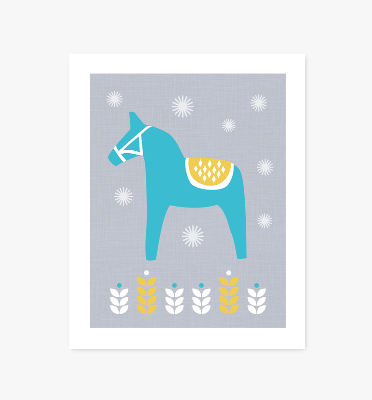 Dala Horse Scandinavian art print - Art Prints - Graphic Anthology - Little A & Co.