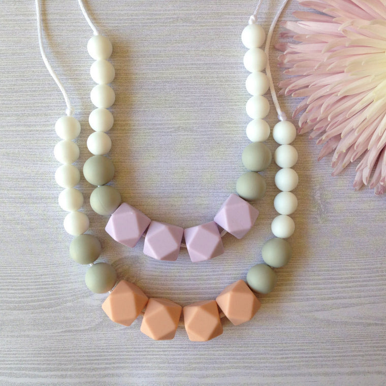 Geometric Silicone Teething Necklace - teether - Sweetie Pie Design Co. - Little A & Co.