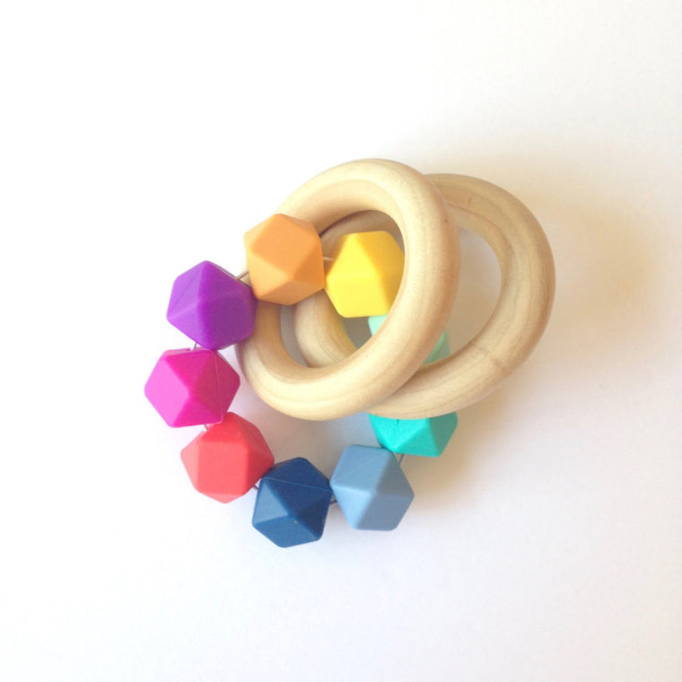 Raine Rainbow Rattle Wooden Teether - teether - Sweetie Pie Design Co. - Little A & Co.