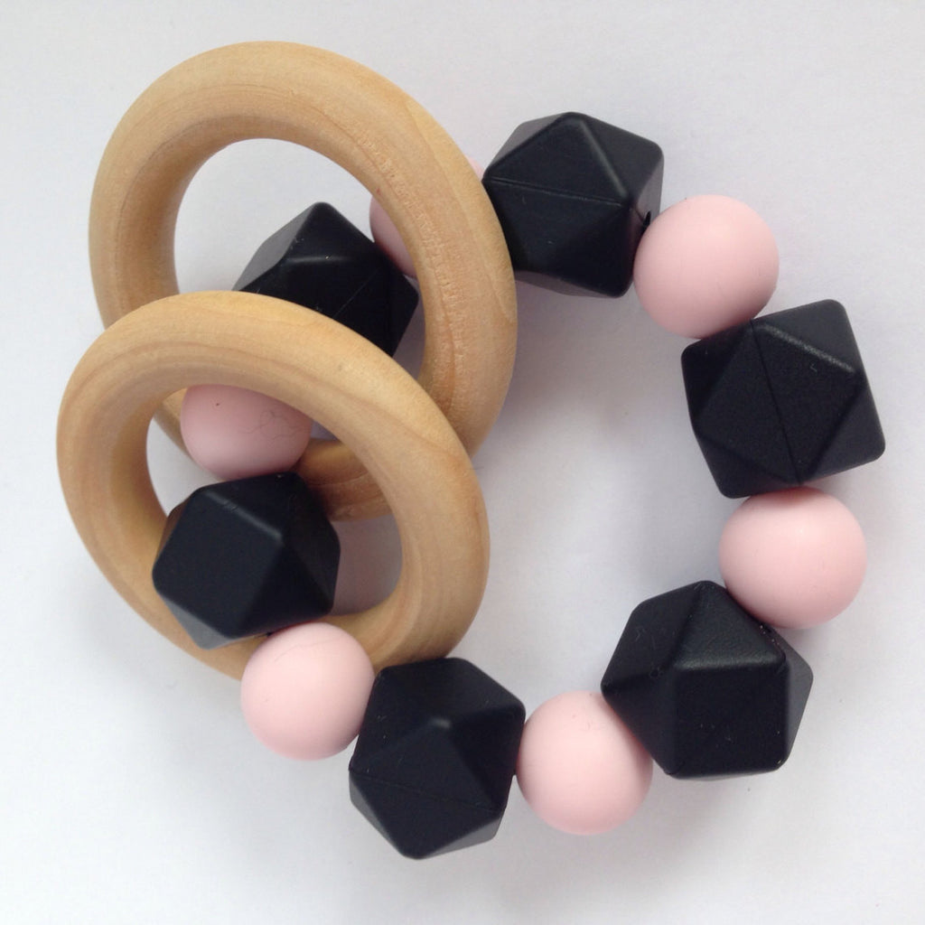 Hexi Wooden Teether Rattle - teether - Sweetie Pie Design Co. - Little A & Co.
