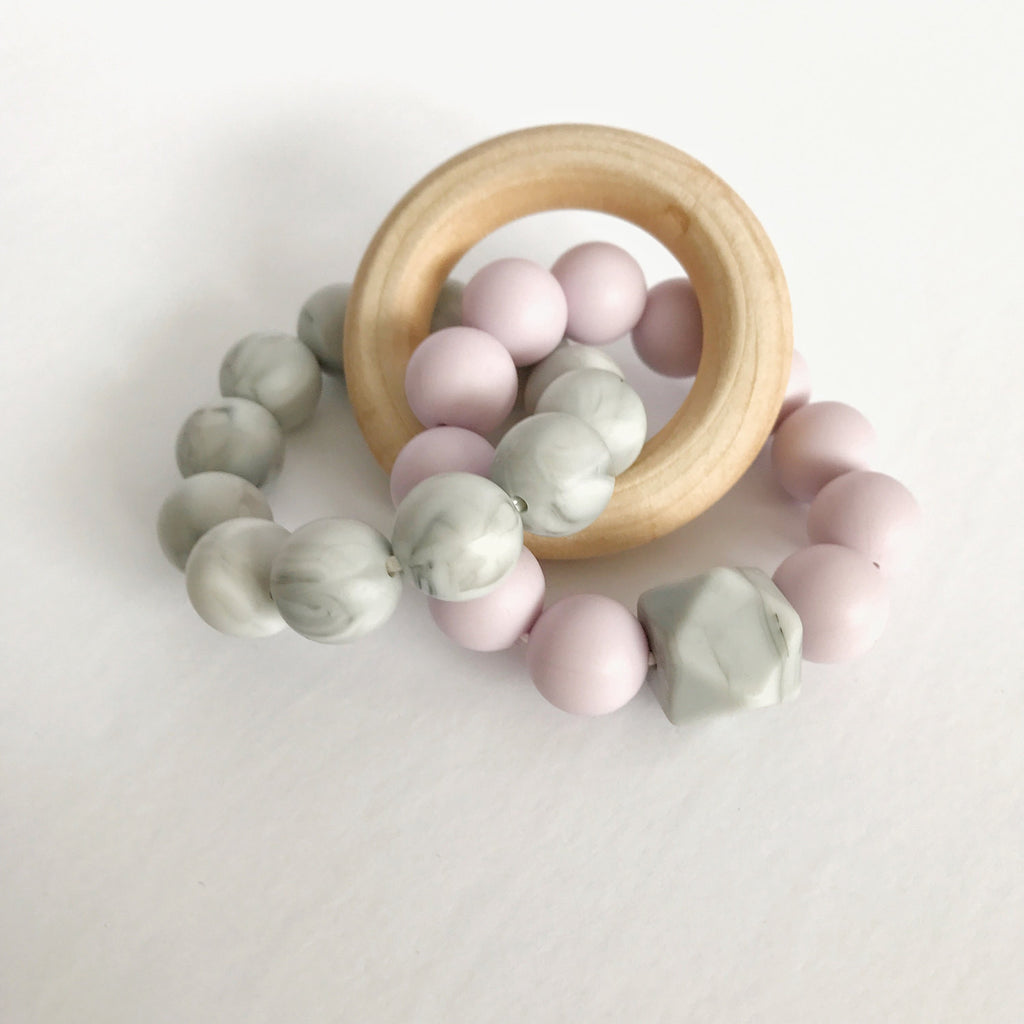 Triad Teether -  Lilac Silicone & Wood Teether - teether - Sweetie Pie Design Co. - Little A & Co.