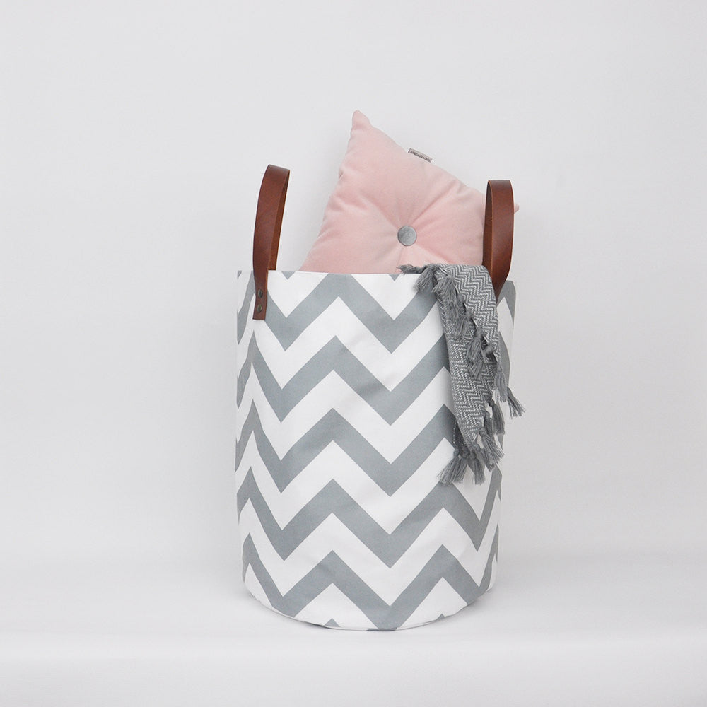 Gray Chevron Fabric Bin - XXLarge - Baskets - Love, Joy, Create - Little A & Co.