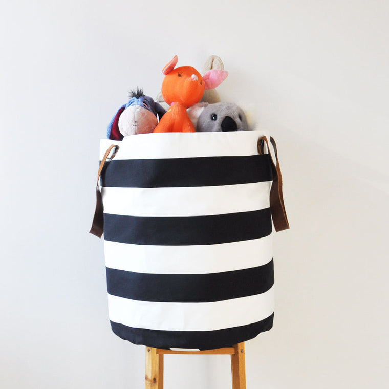 Black White Fabric Storage Bin - Baskets - Love, Joy, Create - Little A & Co.