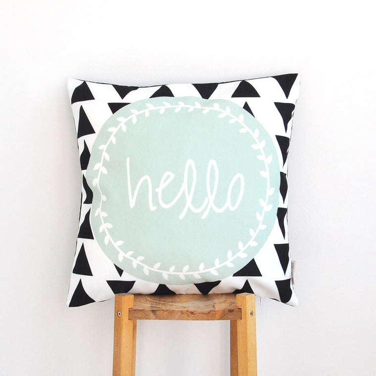 Mint Geometric Decorative Pillow Cover - With Black Triangles & Hello Print - Decorative Pillows - Love, Joy, Create - Little A & Co.