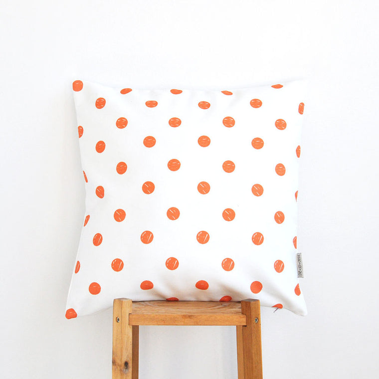 Orange Polka Dots Modern Decorative Pillow Cover - Decorative Pillows - Love, Joy, Create - Little A & Co.