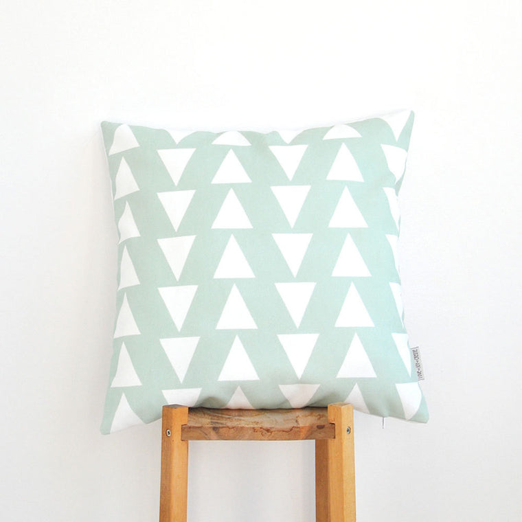 Modern Decorative Mint & White Triangles Pillow Cover - Decorative Pillows - Love, Joy, Create - Little A & Co.