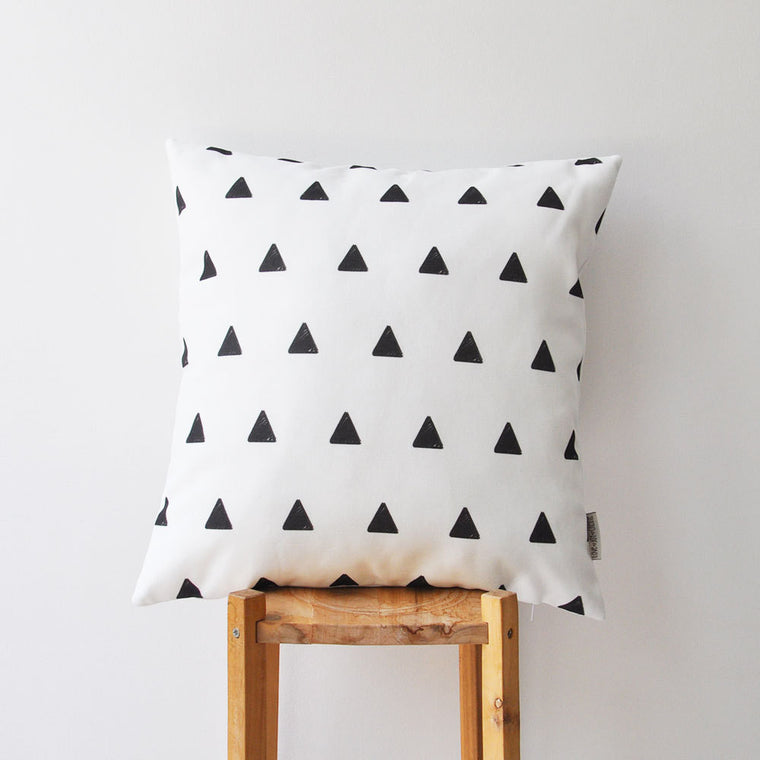 Modern Decorative Pillow wth Black & White Triangles Print - Decorative Pillows - Love, Joy, Create - Little A & Co.
