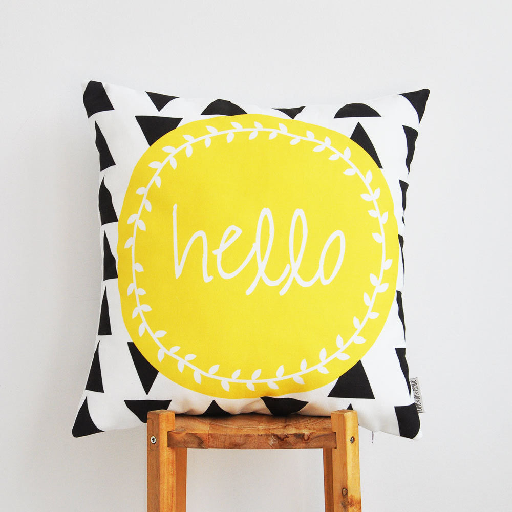 Geometric Yellow & Anthracite (Dark Grey) Modern Decorative Pillow Cover - Decorative Pillows - Love, Joy, Create - Little A & Co.