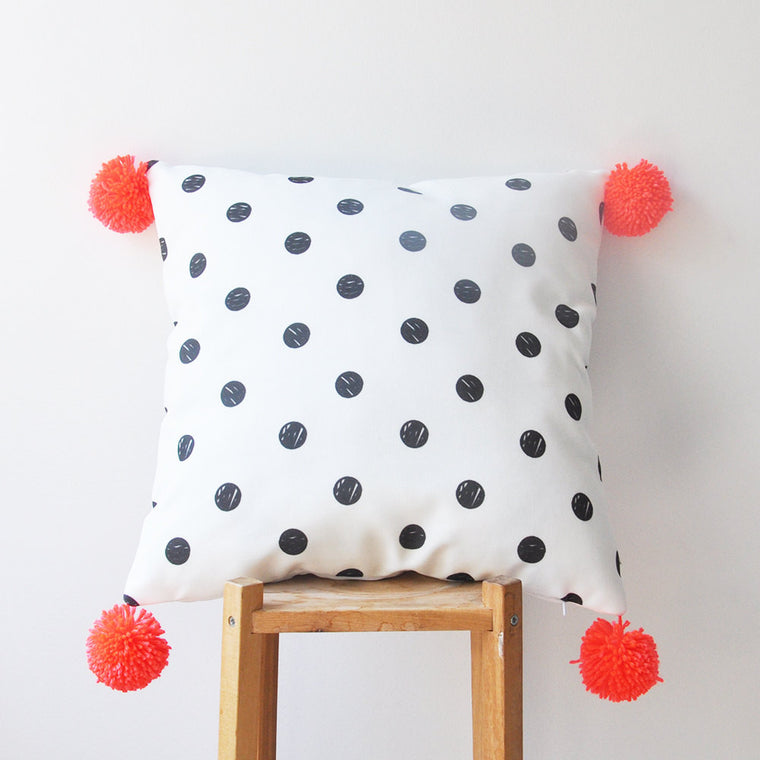 Decorative Pillow Cover with Black & White Dots & Neon Orange Pompoms - Decorative Pillows - Love, Joy, Create - Little A & Co.