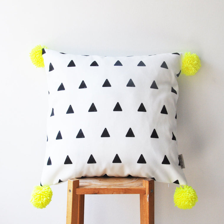 Black & White triangles Print Pillow Cover & neon yellow pompoms - Decorative Pillows - Love, Joy, Create - Little A & Co.