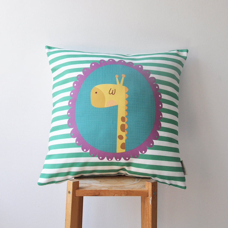 Modern Decorative Kids Pillow Cover with Teal Green & White Striped - Decorative Pillows - Love, Joy, Create - Little A & Co.