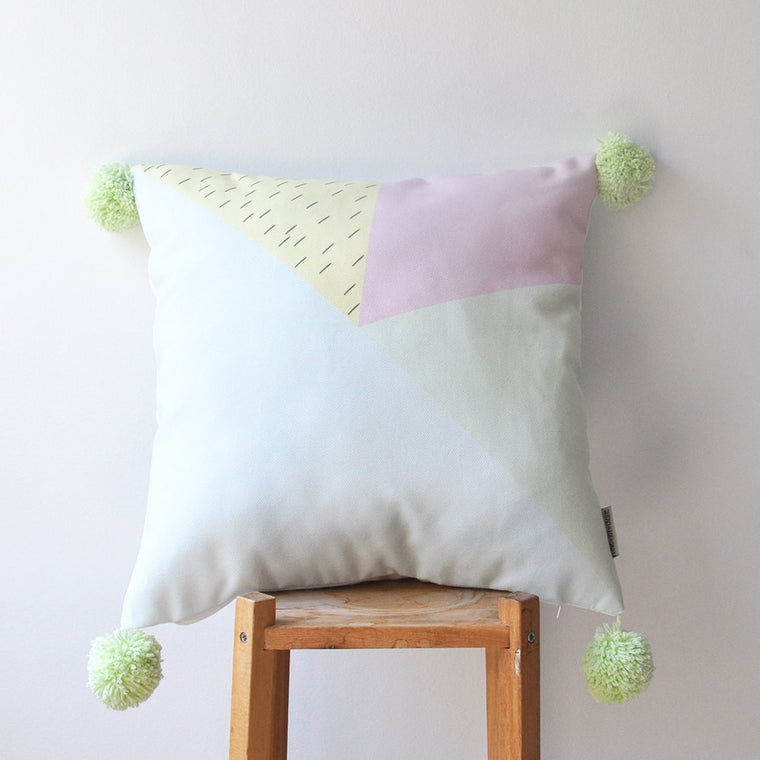 Pastel Pompom Kids Pillow Cover - Pale Green Pompoms - Decorative Pillows - Love, Joy, Create - Little A & Co.