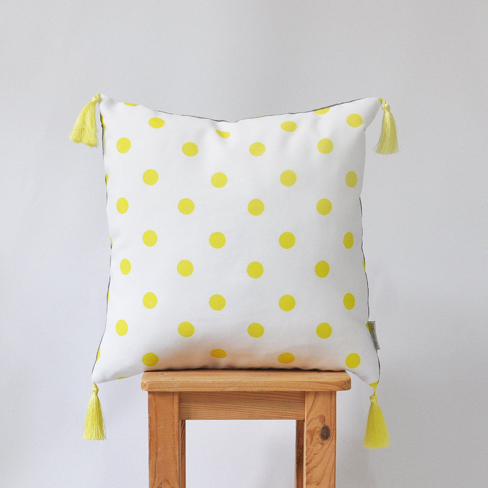 Yellow dots prints & grey linen decorative pillow with yellow tassels - Decorative Pillows - Love, Joy, Create - Little A & Co.