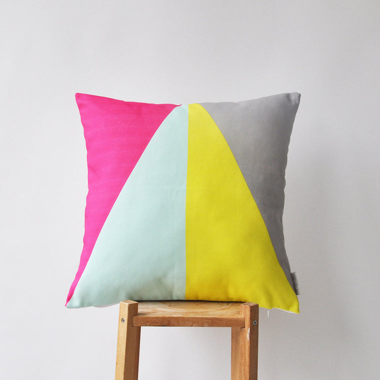 Modern Decorative Yellow, Grey, Hot Pink & Mint Triangles Pillow Cover - Decorative Pillows - Love, Joy, Create - Little A & Co.
