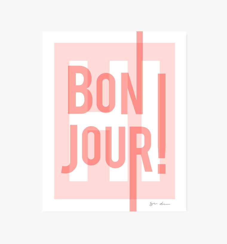 Bonjour art print, pink - Art Prints - Graphic Anthology - Little A & Co.
