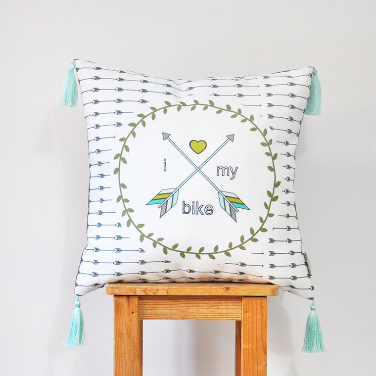 Modern Decorative Pillow Cover with Arrows & Bike Print with Mini Tassels - Decorative Pillows - Love, Joy, Create - Little A & Co.