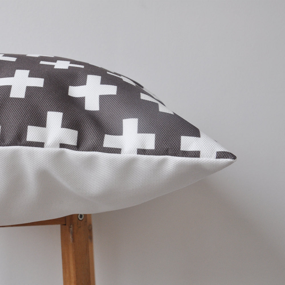 White and Anthracite (dark grey) Geometric Pillow - Decorative Pillows - Love, Joy, Create - Little A & Co.