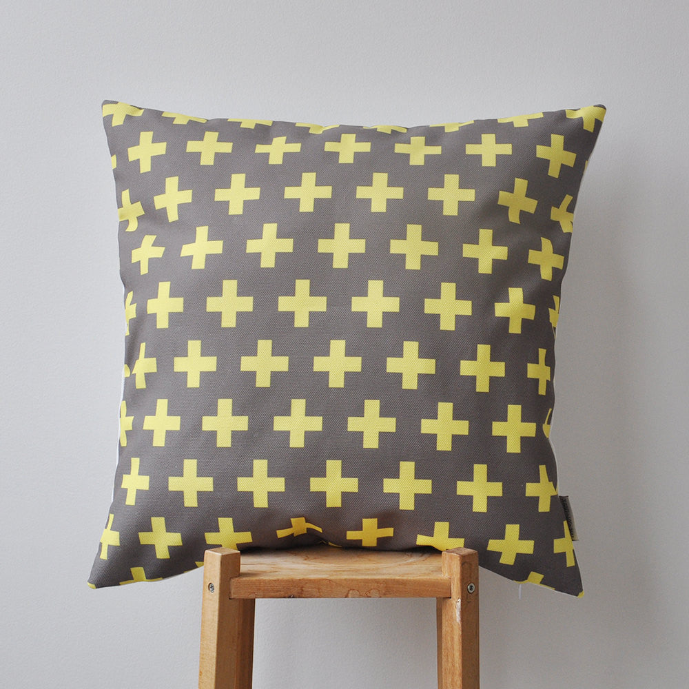 Yellow and Anthracite (dark grey) Geometric Pillows - Decorative Pillows - Love, Joy, Create - Little A & Co.