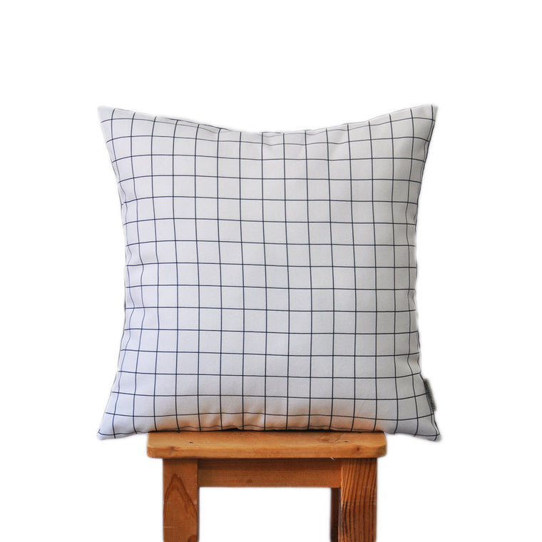 Modern Monochrome with Geometric Grid Pattern Pillow Cover - Decorative Pillows - Love, Joy, Create - Little A & Co.