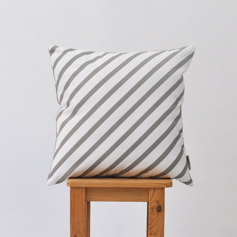 Modern Geometric Nursery Pillow Cover with Gray & White Stripes - Decorative Pillows - Love, Joy, Create - Little A & Co.